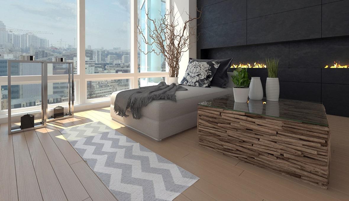 tappeto cucina a righe ondulate bianco e grigio